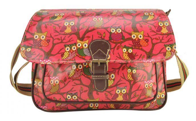 Pink, owl bags, Fushia messenger bags