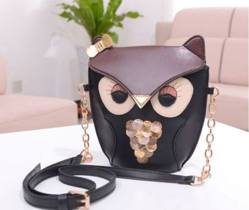 Black Fox/Owl Messenger Satchel Crossbody Bags with Gold Chain