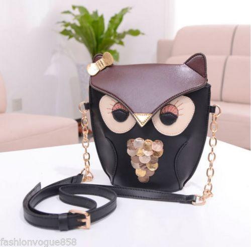 Black Fox/Owl Messenger Satchel Crossbody Bags with Gold Chain