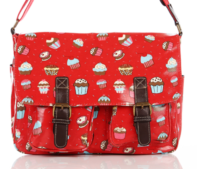 oilcloth-stachel-ladies-red-messenger-bags-handbags-satchels in red-cupcake-printed-bags-wth-cake