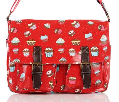 oilcloth-stachel-ladies-red-messenger-bags-handbags-satchels in red-cupcake-printed-bags-wth-cake