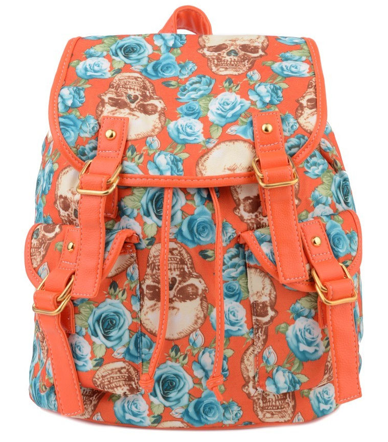 ORANGE Skulls And Roses Retro Backpack – Buy as a Gift – We GIFT Wrap! – LADIES SCHOOL RUCKSACK RETRO GOTHIC SKULL FLORAL GIRLS BACKPACK SHOULDER BAG
