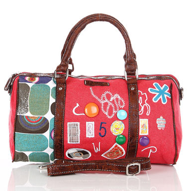 red retro bowler bags handbags for ladies and kids