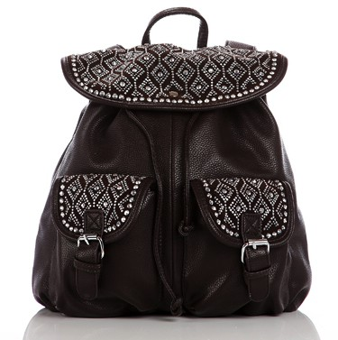 black-sequin encrusted flap -rucksacks
