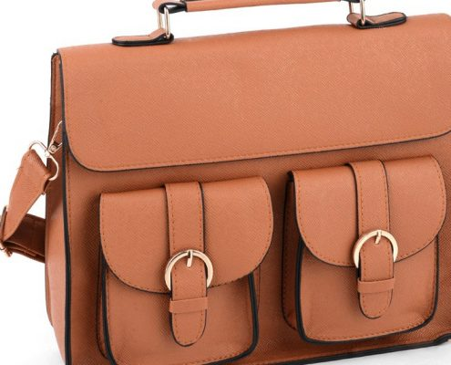 lovely brown faux satchel
