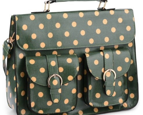 NEW IN: Dark Green Polka Dot Satchel.