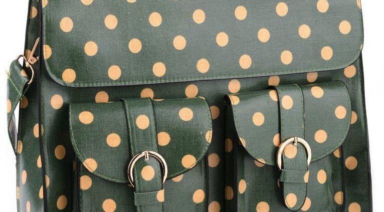 NEW IN: Dark Green Polka Dot Satchel.