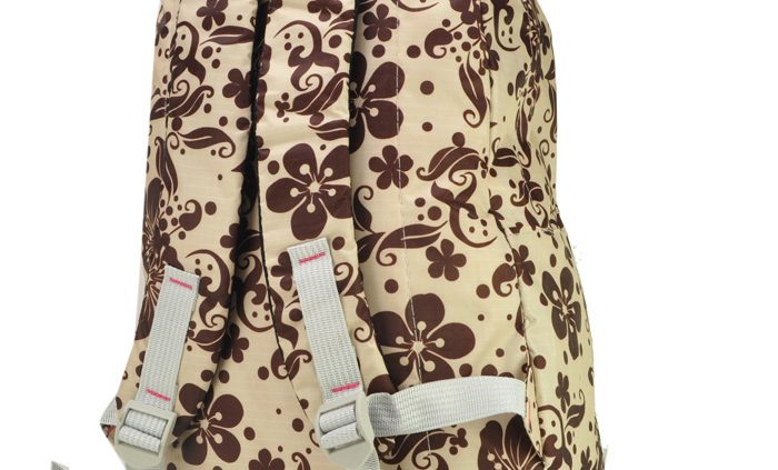 Beige Gorgeous Flower Print Backpack with Front Pocket Model2
