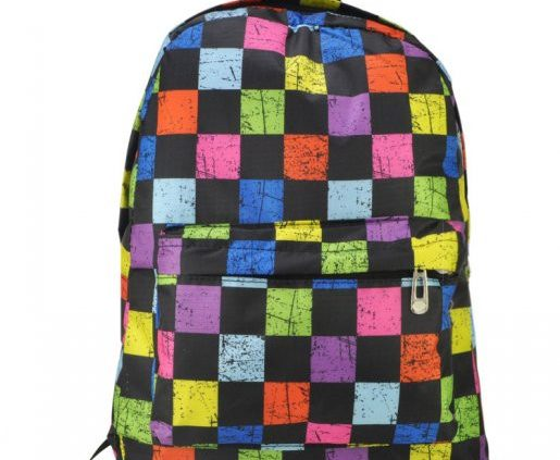 BLACK - COLOURBLOCK BACKPACK WITH FRONT POCKET IN GRID PRINT