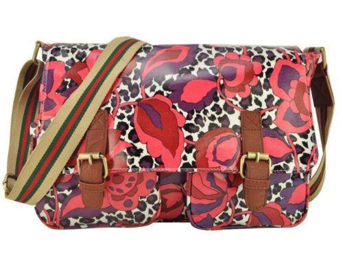 Designer Celebrity Womens Ladies Leopard Floral Oil Cloth Satchel Bag BB11