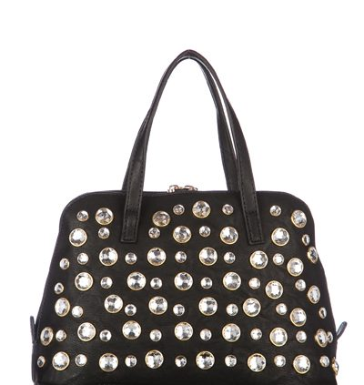 Diamante Studded Mini Black Bag