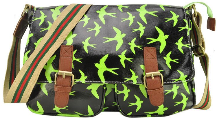 GREEN-SWALLOW-PRINT-SATCHEL-MESSENGER-BAGS