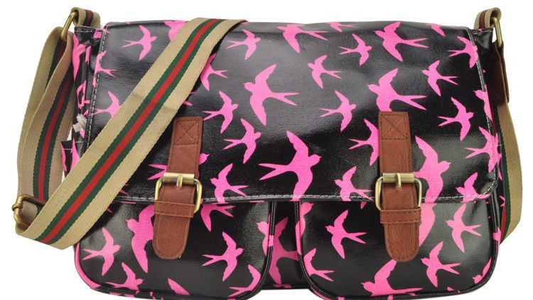 PINK-SWALLOW-PRINT-SATCHEL-MESSENGER-BAGS