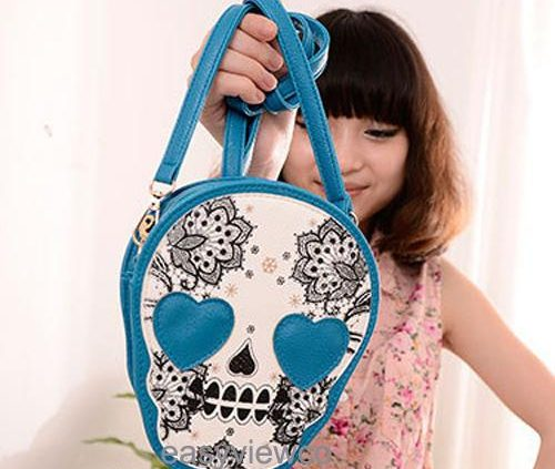 Fashion Womens Black Skull PU Leather Shoulder Hand Bag Tote Purse Gift