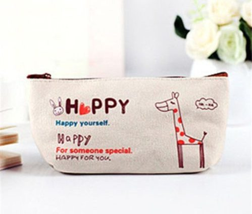 Orange - Hot Stationery Canvas Pencil Pen Case Coin Purse Makeup Buggy Bag Pouch