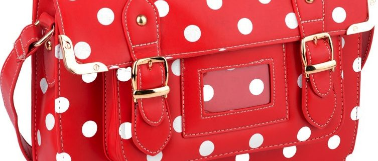 red polka dot satchel - cross body bags