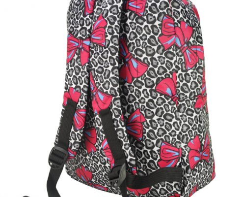 BLACK - BACKPACK WITH FRONT POCKET IN BOW & LEOPARD PRINT2