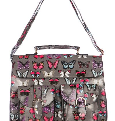 Butterfly Grey Satchel