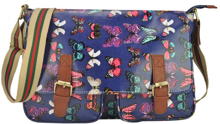 DARK BLUE - OILCLOTH BUTTERFLY PRINTING SATCHEL MESSENGER