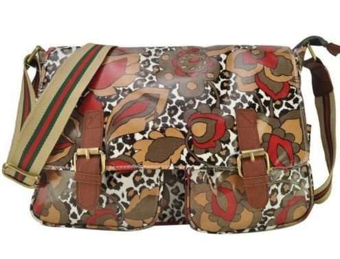 Designer Celebrity Women Ladies Leopard Floral Oil Cloth Satchel Bag