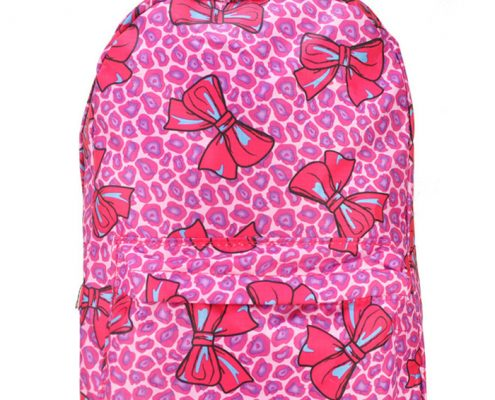 FUSHIA - BACKPACK WITH FRONT POCKET IN BOW & LEOPARD PRINT