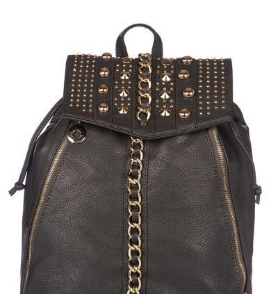 GREY BLACK Chain Embellished Rucksack