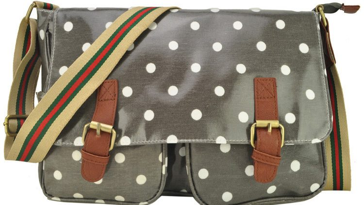 GREY - FASHION POLKA DOTS PRINTING OILCLOTH SATCHEL