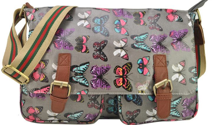 GREY - OILCLOTH BUTTERFLY PRINTING SATCHEL MESSENGER BAG