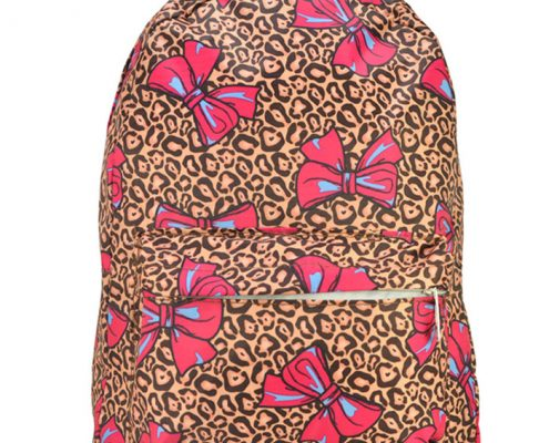 YELLOW - BACKPACK WITH FRONT POCKET IN BOW & LEOPARD PRINT