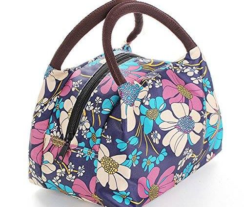 Purple Flowers - Outdoor Canvas Lunch Bag Casual Handbag Picnic Totes Carry Box Portable