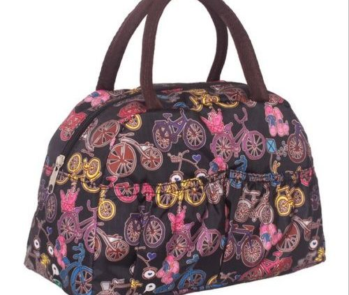 Bicycle-Printed Canvas Handbag Shoulder Totes Lunch Bag Waterproof