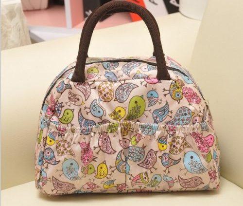 Birds-Printed Canvas Handbag Shoulder Totes Lunch Bag Waterproof