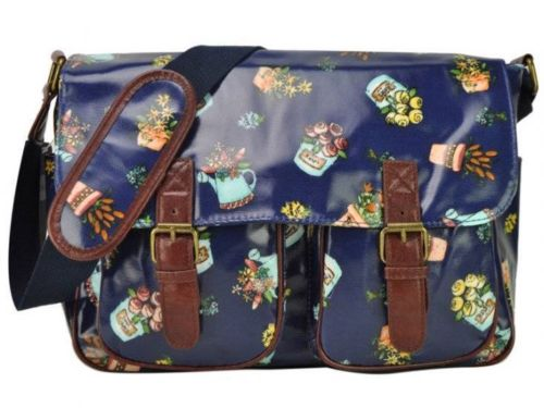 Designer Women Girls Pattern Print Oil Cloth Satchel Messenger School Bags
