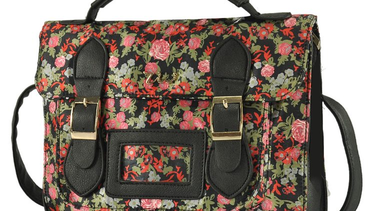Flower Black Satchel