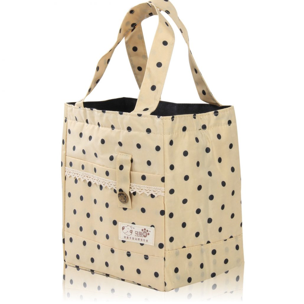 KHAKI – Thermal Insulated Portable Lace Dot Lunch Box Picnic Tote Storage  Case Bag Pouch Can be Used as lunch bags at work or school. fda068916800e