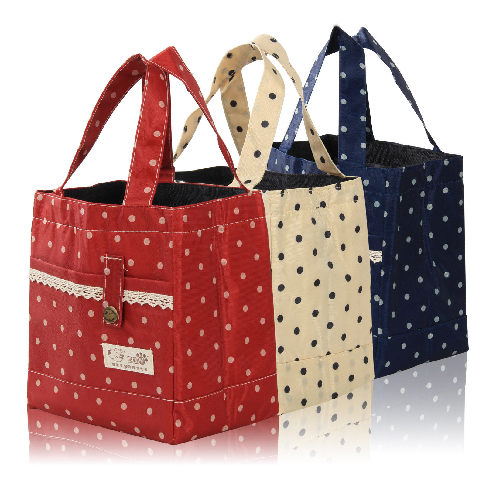 Red Thermal Insulated Portable Lace Dot Lunch Box Picnic