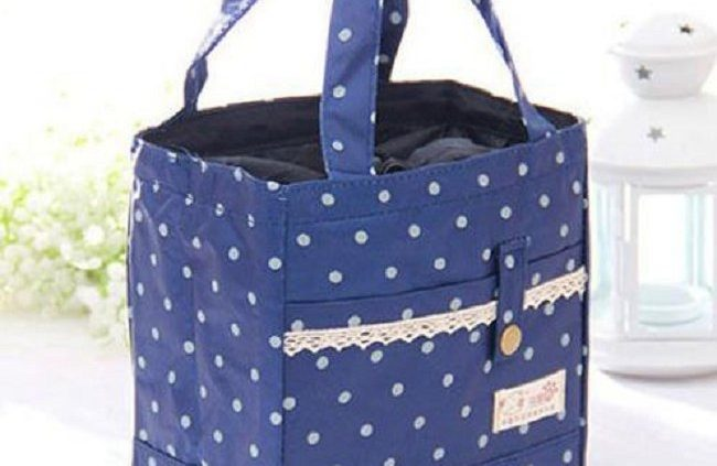 BLUE – Thermal Insulated Portable Lace Dot Lunch Box Picnic Tote Storage  Case Bag Pouch Can be Used as lunch bags at work or school. dd8087483807e