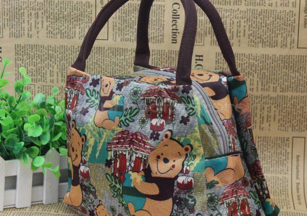 Cute Winnie Bear Pattern Canvas Lunch Bag Picnic Casual Handbag Food Box Tote
