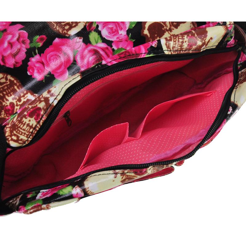Black - Skull And Roses Print Oilcloth Satchel Messenger Bag With Belt Buckle6