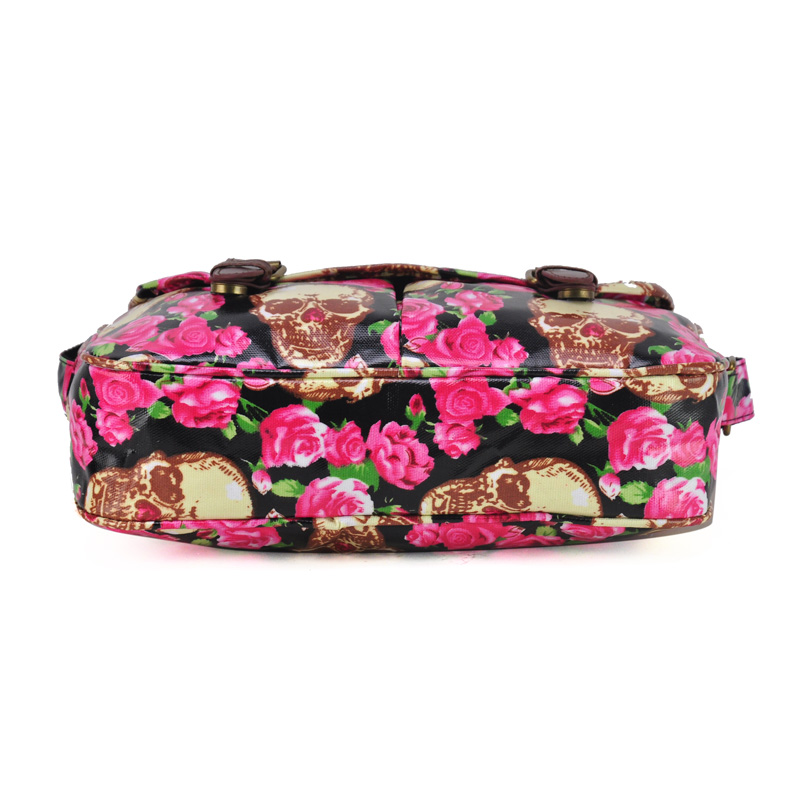 Black - Skull And Roses Print Oilcloth Satchel Messenger Bag With Belt Buckle8