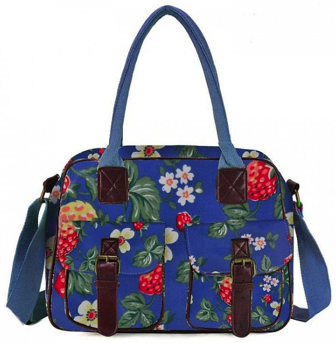 NOW HERE U2013 Light Blue U2013 Fashion Design Floral Print Oilcloth Satchel Messenger Bag With ...