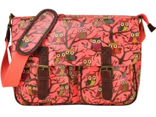 Neon Pink - Newest Type Two Front Pocket Owl Oilcloth Bag