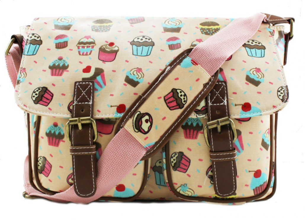 Pink – Ladies Cute Cakes Oilcloth Messenger Cross Body School Satchel  Changing Bag 8b9b92436ee6a