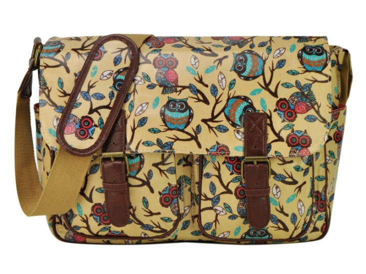BEIGE-YELLOW-SATCHEL-OWLS-MESSENGER-HANDBAGS