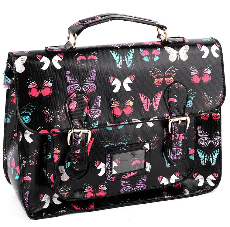 NEW IN  Black Butterfly Print Structured Satchel - College Bags ... 8f7a6bad34c
