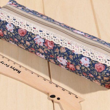 Blue-supplies-Cosmetic-makeup-Zipper-Pouch-Purse-estojo-escolar-Floral-Lace-Cloth-Pencil