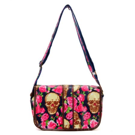 Blue - Roses and Skull Pattern Oilcloth Messenger Bag - BLUE HANDLE ... 26a6f343550cd