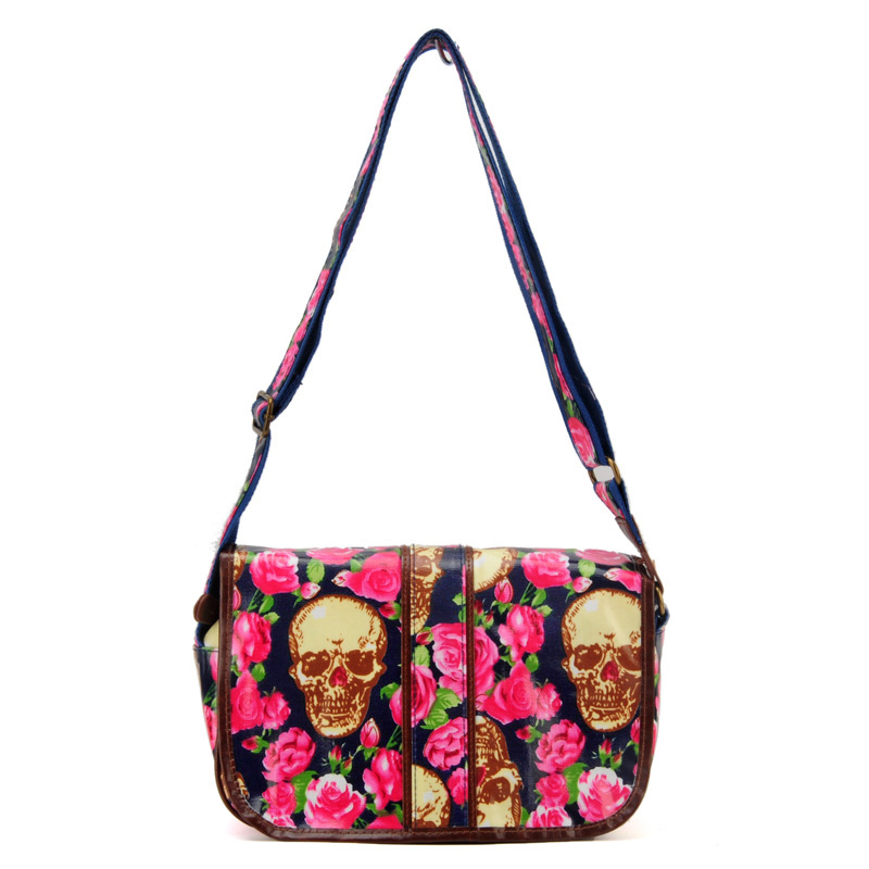 Blue Roses And Skull Pattern Oilcloth Messenger Bag