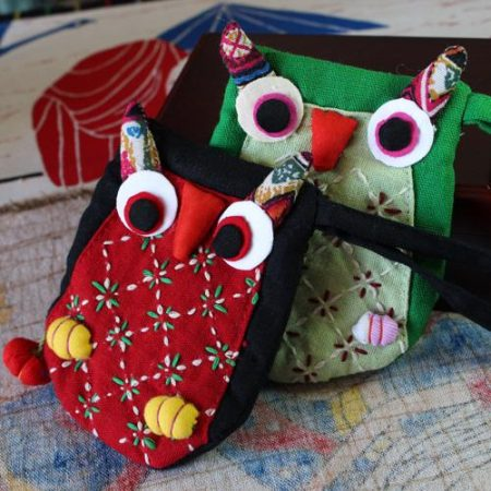Unique cloth national handbag trend owl coin purse female vintage women's bag