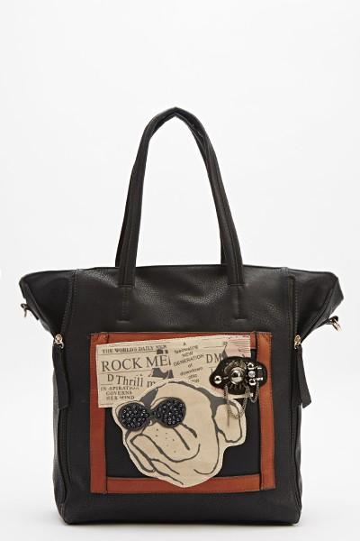 embellished-dog-print-handbag-black